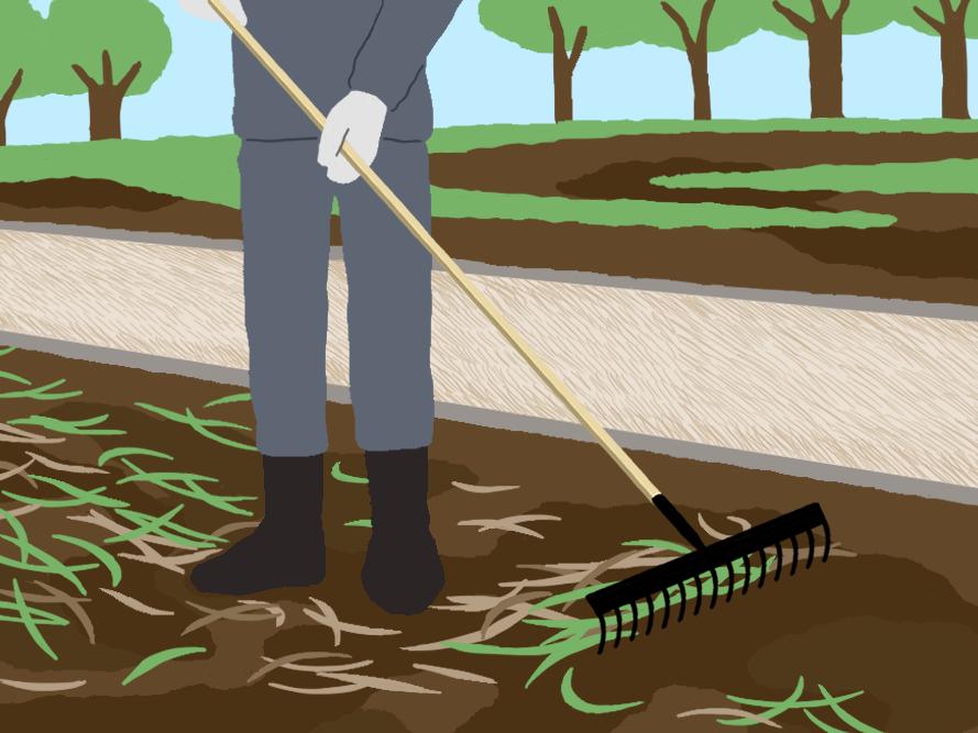 「4」雑草をレーキで掃く
